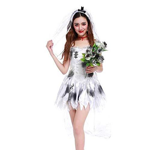 QWE Halloween Kostüm Cosplay Ghost Bride Höllengott Weibliche Zombie Spiel Uniform