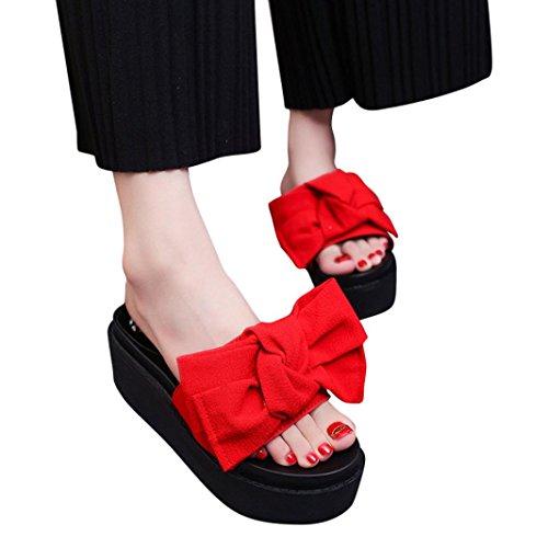 Webla Komfortsandalen Damenschuhe Römersandalen Keilabsatz/ Wedge Moderne Schnalle Sandalen / Sandaletten Offene Sandalen mit Keilabsatz Rot