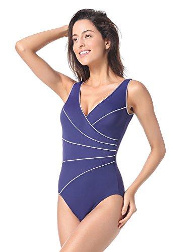 Delimira Damen Große Größen Schwimmanzug - Schale Einteiler Slim Badeanzug Marine