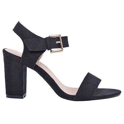 New Womens Ladies Mid Block Heel Sandals Ankle Strap Peep Toe Summer...