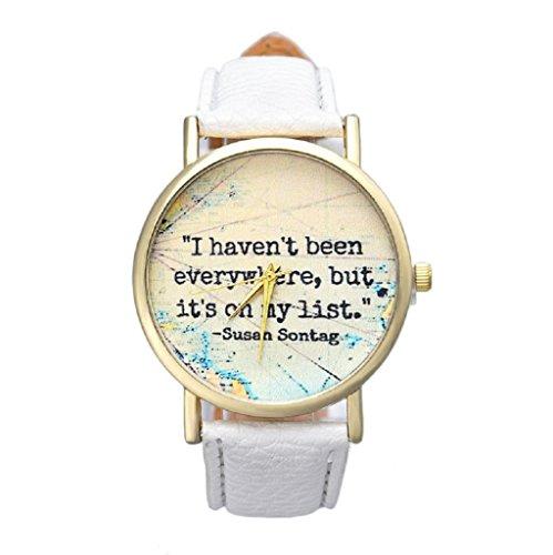 Sannysis® unisexo cuero banda analógico cuarzo marcar reloj de pulsera(blanco)