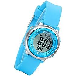 Lancardo Boy'S Girl'S 50M Waterproof Multi Function Digital Led Traning Sports Outdoor Watch(Baby Blue)