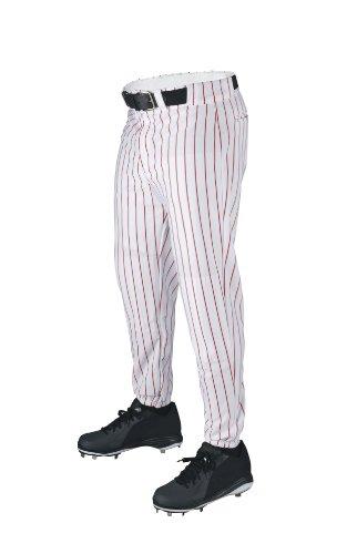 WILSON Sporting Goods Deluxe Erwachsene Poly Warp Knit Pinstrip Hose, Herren, White with Scarlet, Large -