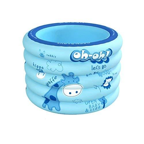 ZHAS Aufblasbare Badewanne Babyschwimmbad Hausdämmung Neugeborenes Baby Schwimmenseimer Aufblasbares Schwimmbecken für Junge Kinder rund verdickt (Farbe: Blau)
