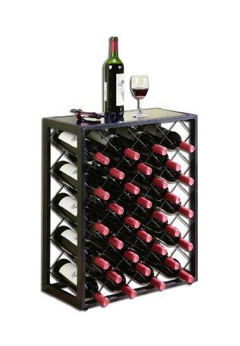 32 Flaschen Weinregal mit Glasplatte, Schwarz