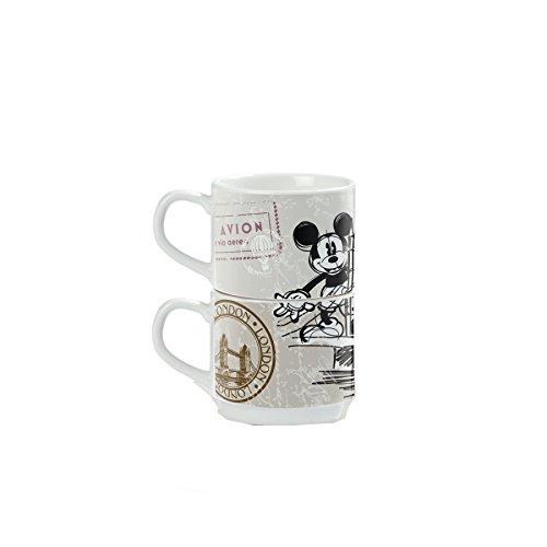 Disney Walt pwm02i/6x y Juego de Tazas de café, Modelo in The City y metalrack, Porcelana, 7Unidad