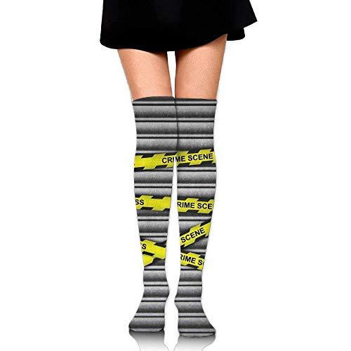 OQUYCZ Women Crime Scene Investigation Do Not Pass Yellow Wraps Quotes Artwork Print Summer Knee High Socks Redhead Wrap