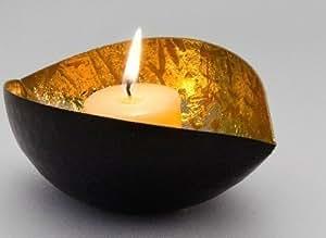 teelichthalter aus metall in schwarz gold zum geburtstag k che haushalt. Black Bedroom Furniture Sets. Home Design Ideas