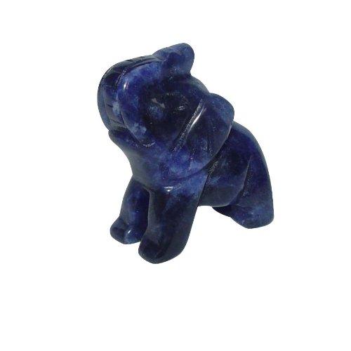 Sodalith Elefant ca. 22 x 30 mm aus echtem Edelstein mit Rüssel nach oben Glücksbringer.(3159)