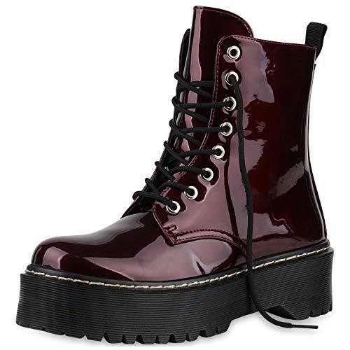 SCARPE VITA Damen Plateau Stiefeletten Worker Boots Profilsohle Stiefel 175234 Dunkelrot Lack 37