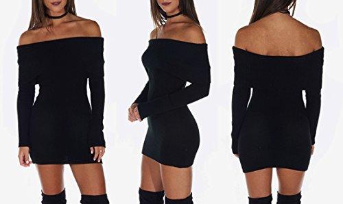 QIYUN.Z La Moda Delle Donne Fuori Dal Mini Vestito Lungo Dal Manicotto Dei Maglione Delle Spalle Nero
