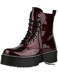 a6d8f45e97 SCARPE VITA Damen Stiefeletten Plateau Boots mit Blockabsatz Profilsohle