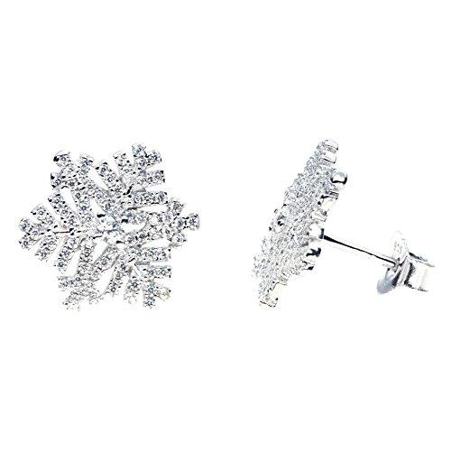 Orecchini in acciaio e cristallo a forma di fiocco di neve