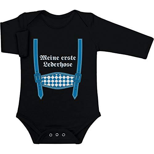 Shirtgeil Meine erste Lederhose - Oktoberfest Babys Baby Langarm Body 62/68 (3-6M) Schwarz