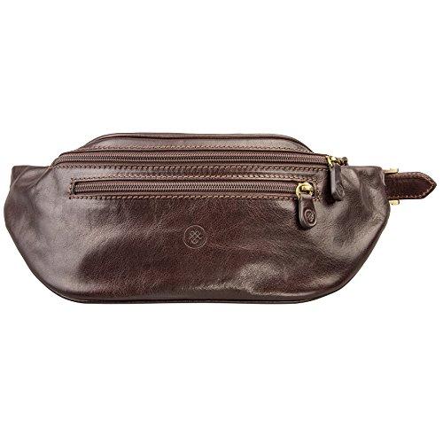 Brown Italienischen Leder Handgefertigt (Maxwell-Scott® Hochwertige Leder Hüfttasche in Dunkelbraun (Centolla))