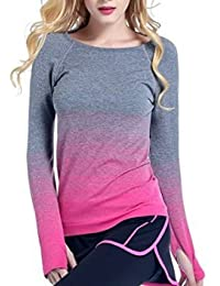 Camisa de deporte Yoga Running Running Tops Stretchy Gradient Color Base Layer Minzhi