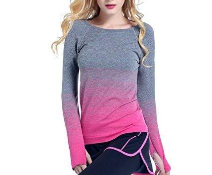 Sport-Shirt Yoga Fitness Running Tops Stretchy Farbverlauf Basis Basis Minzhi