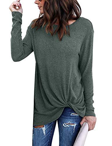 Quceyu Femme Tee Shirt Été Manche Courte Col Rond Casual Blouse Haut Mode  Top (Vert ac8f45859940