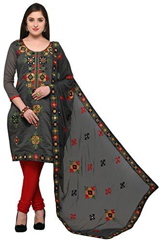 EthnicJunction Rajasthani Mirror Work Chanderi Embroidery Unstitched Salwar Kameez Dress Material (EJ1180-88013,...