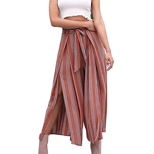 Palazzo Hosen Damen Vintage Mode Gestreift Freizeithose Elegante High Waist Locker Perfect Pin-up Geöffnete Gabel Chic Luftig Weiten Bein Hose Sommerhose Style (Color : Rot, Size : XL)