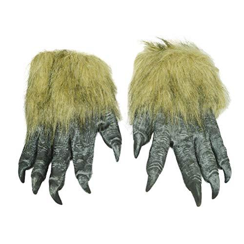 BESTOYARD Halloween Horror Wolf Klauen-Handschuhe Tiere Cosplay Kostüme Party Dressing Requisite Lustige Werwolf Ghostcrawler Handschuhe (schwarz)
