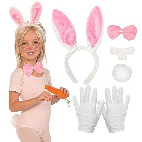 SPECOOL 5pcs Bunny Costumes Ensemble, Rabbit Ears Fascia Papillon Tail Guanti per Bambini Adulti in Giornata Mondiale del Libro Pasqua Halloween Festa di Giorno Cosplay (Rosa)