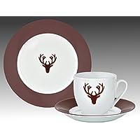 Van Well Hirsch bordeaux Kaffeeservice, 18-tlg. für 6 Personen, Kuchenteller + Kaffeetasse und Untertasse im Set, edles Marken-Porzellan, Weihnachtsdekor