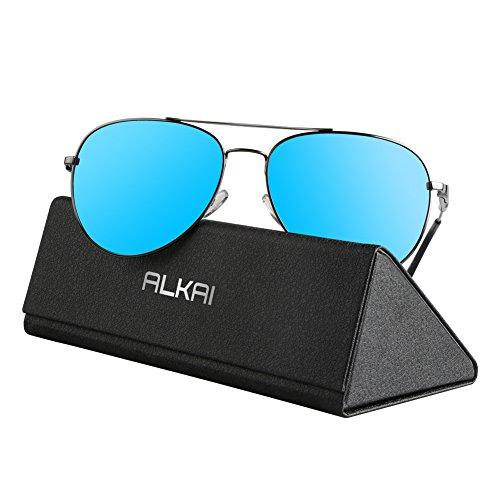ALKAI Sonnenbrille klassische Sunglass für Herren/Damen/Jungen Schwarz-Blau
