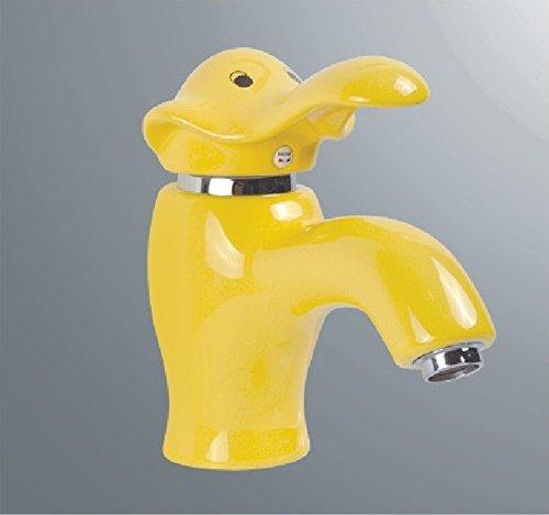 SADASD Grifo de lavabo de cobre para baño contemporáneo, cerámica, diseño de dibujos animados, color elefante, latón, lavabo, fregadero, bobina de cerámica, un solo aguje
