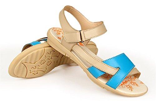 Auspicious beginning Pattini piani della spiaggia di Sandals di pigolio del cuoio Comfy della punta per le donne Blu