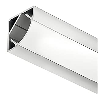 Gedotec Winkelprofil Aluminium-Profil Loox LED Eckprofil 2500 mm Profilleiste für LED-Streifen | Alu silber eloxiert | Streuscheibe milchig transparent | 1 Stück