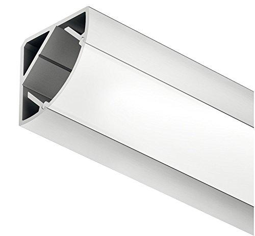 Gedotec Winkelprofil Aluminium-Profile Loox LED Eckprofil 2500 mm Profilleisten für LED-Streifen | Alu silber eloxiert | Streuscheibe milchig transparent | 1 Stück - LED-Profil mit Endkappen