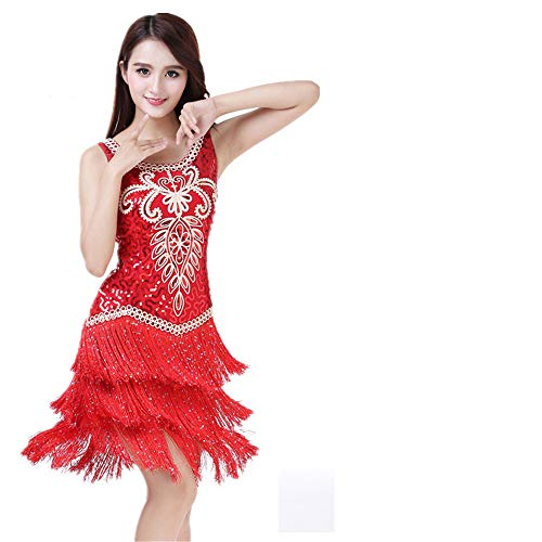 Damen Quaste Latin Dance Kleider Frauen Dancewear Floral Pailletten Quasten Ballsaal Samba Tango Latin Dance Dress Wettbewerb Kostüme Gatsby Sway Cocktail Fringe Dress für Nachtclub Cocktail Tea Party (Fringe Kleid Dance Kostüm)