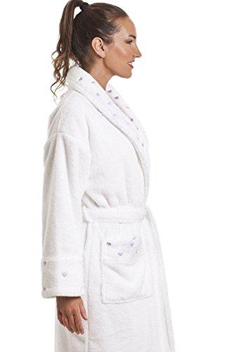 Damen Bademantel mit Herzen bedruckt - Superweiches Fleece - Weiß Weiß