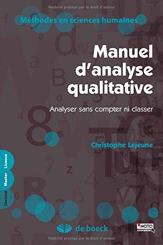 Manuel Danalyse Qualitative Analyser Sans Compter Ni Classer Pdf