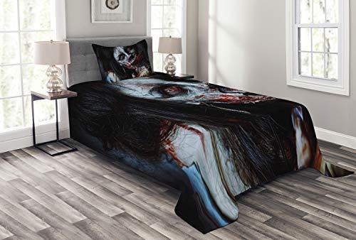 ABAKUHAUS Zombie Tagesdecke Set, Blutige Ax Frau, Set mit Kissenbezug Waschbar, für Einselbetten 170 x 220 cm, Multicolor