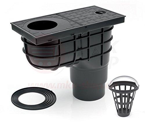 Senkrechter Regensinkkasten schwarz mehrstufig Ø 110/125 mm - 275 mm Einbautiefe Rückstauklappe Rückstauverschluß Geruchsklappe Regenrohrablauf Dachrinnenablauf Sieb