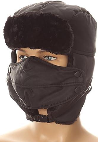 Sakkas 16161 - Esty réglable Chin Boucle en fausse fourrure doublé Masque Unisexe Trooper Hat - Noir - OS