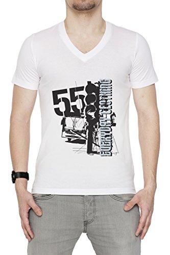 Everyday Clothing Uomo V-Collo T-shirt Bianco Cotone Maniche Corte White Men's V-neck T-shirt
