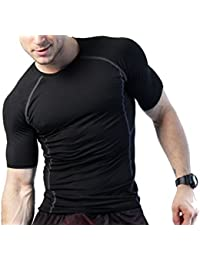 Zesteez Mens Stretchable Gym and Sports Wear Tshirt for Men | Bodyfit Skinny Tshirt for Gymming and Sports | Gymming Tshirt by