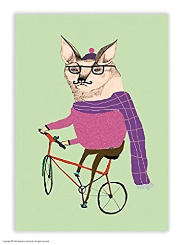 Funny Humorous 'Fox On Bike' Postcard