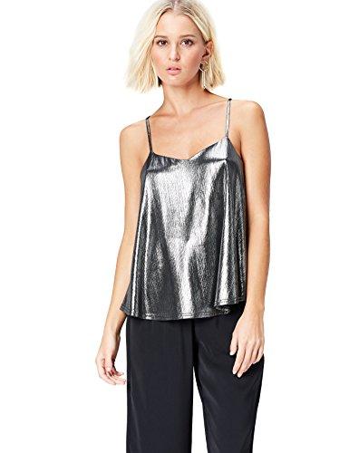 FIND Top Fruncido para Mujer, Plateado (Silver Silver), 42 (Talla del fabricante: Large)
