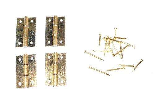 Preisvergleich Produktbild Basteln - 4 Stück Nagel Mini Scharniere - HxB ca.15x9mm - mit ca.16 Mininägeln - (1x1Set)
