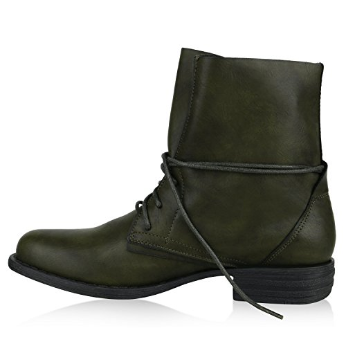 Damen Stiefeletten | Worker Boots Leder-Optik | Knöchelhohe Stiefel Camouflage | Booties Bockabsatz Spitze | Gr. 36 - 42 Dunkelgrün