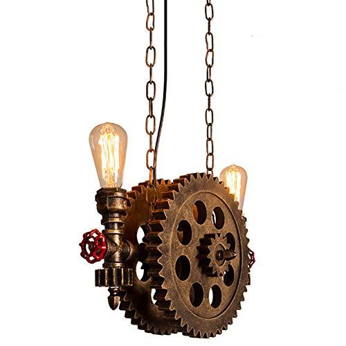 Ein Combo-küche (Industrielle Pendelleuchte Vintage Hängelampe Metall Steampunk Wasserrohr und Zahnräder Combo Hängeleuchte, Retro Decke E27 fassung 2-Flammig für Küche Korridor Flur Beleuchtung Lampen)