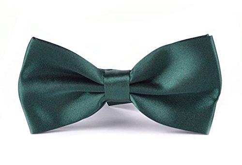 N. N. Einfarbige Herren Fliegen (in 35 verschiedenen Farben) - vorgebunden mit Hakenverschluss (verstellbar) (L35 Grün)