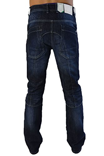 Uomo Crosshatch Lopes Jeans Con Bottoni Multi-tasca Di Marca Pantaloni In Denim Scolorito Scuro