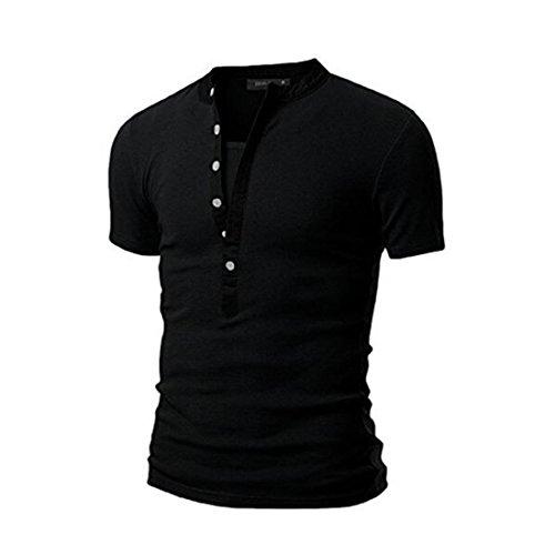 Men's Hyundai Short Sleeve V Neck Tee Shirts Black