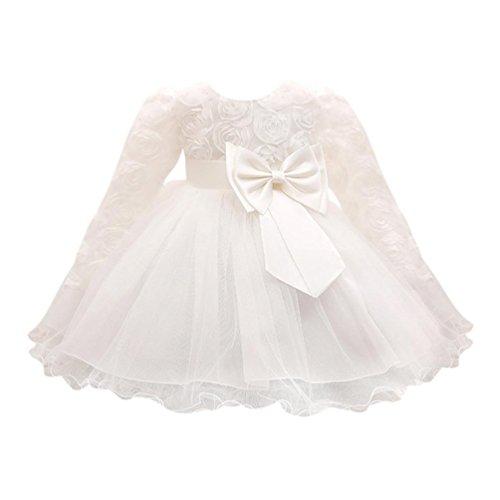 Lenfesh Baby Mädchen Blumen Bowknot Prinzessin Kleider Brautjungfer Geburtstag Hochzeit Kleid (6 Monate, Weiß)