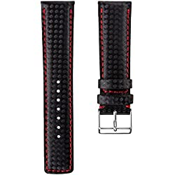 Geckota® D-1 Watch Strap Black Carbon Fibre Grain with Red Stitching